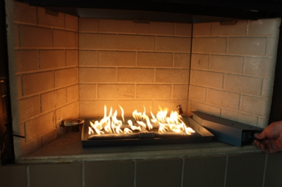 converting fireplace to propane pan burner